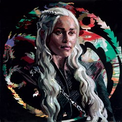 Mother of Dragons by Zinsky - Embellished Canvas on Board sized 20x20 inches. Available from Whitewall Galleries